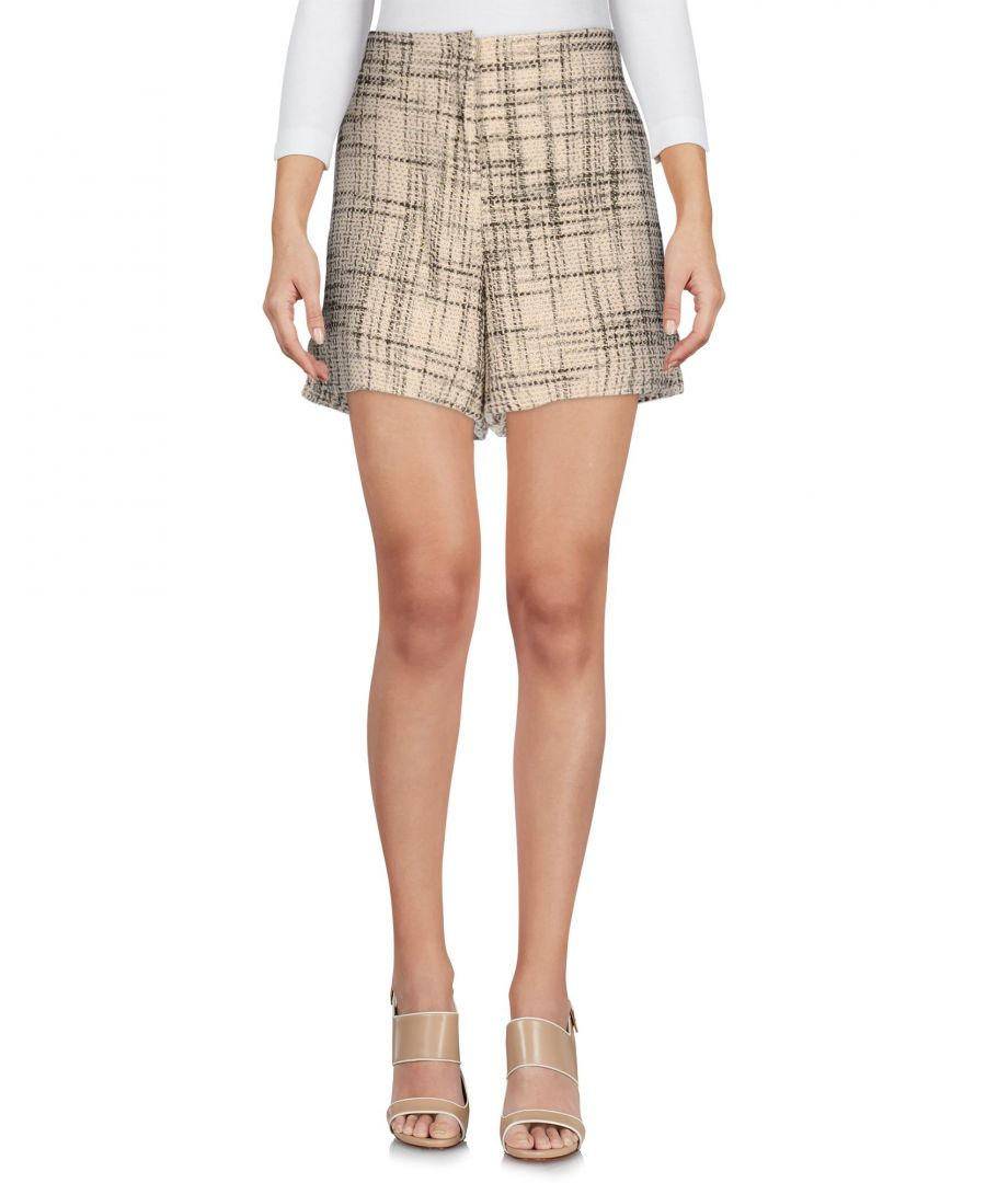 Image for Twin-Set Jeans Beige Cotton Tweed High Waisted Shorts