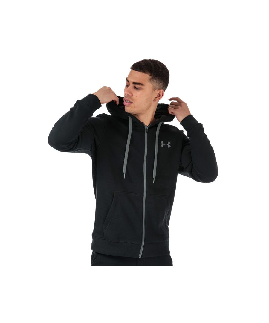 Image for Men's Under Armour UA Rival Fleece Fitted Zip Hoody in Black