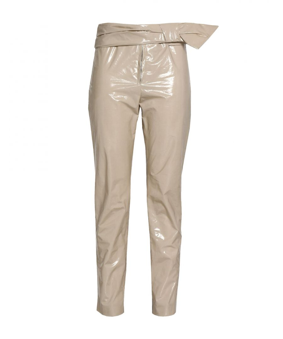 Image for Isabel Marant Beige Varnished Effect Cotton High Waisted Trousers