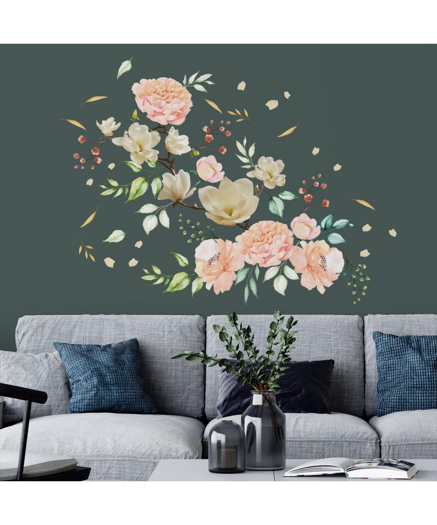 Image for White Magnolia With Pink Watercolour Flowers self Adhesive DIY Wall Sticker, Living room wall sticker