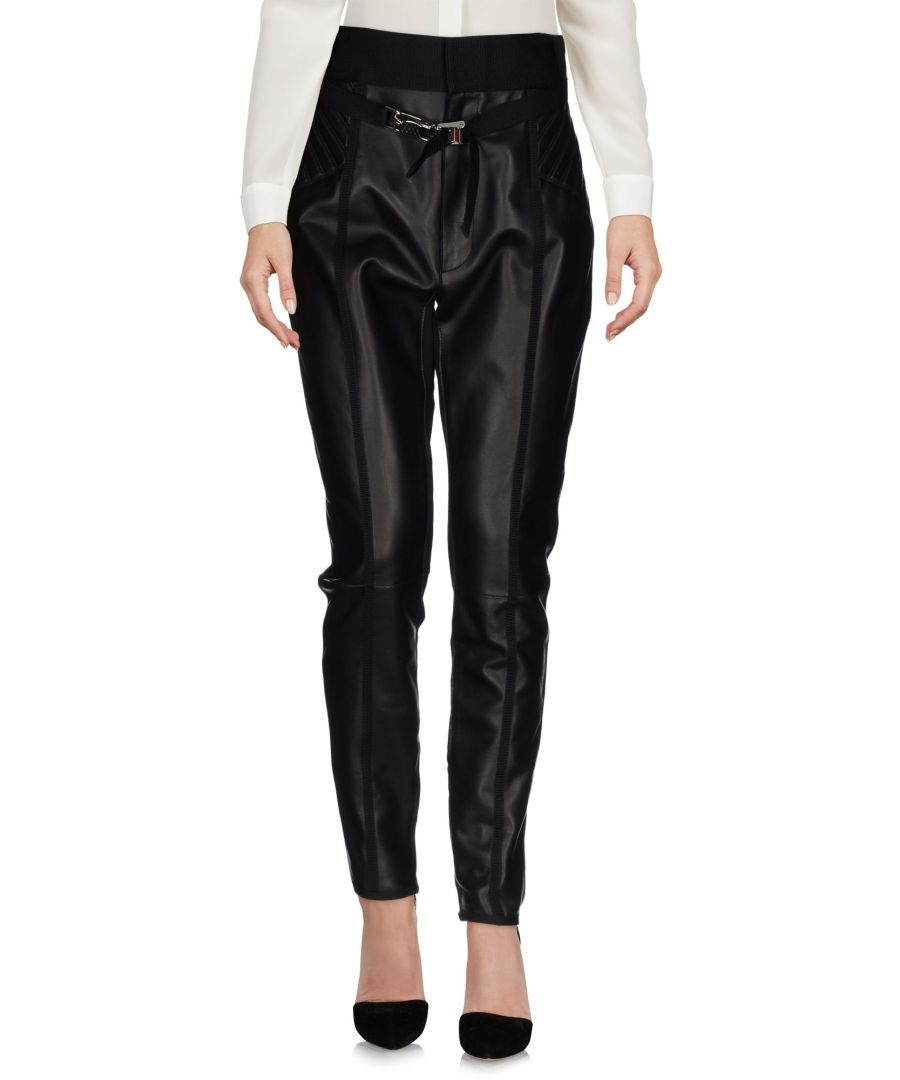 Image for Dsquared2 Black Leather Tapered Leg Trousers