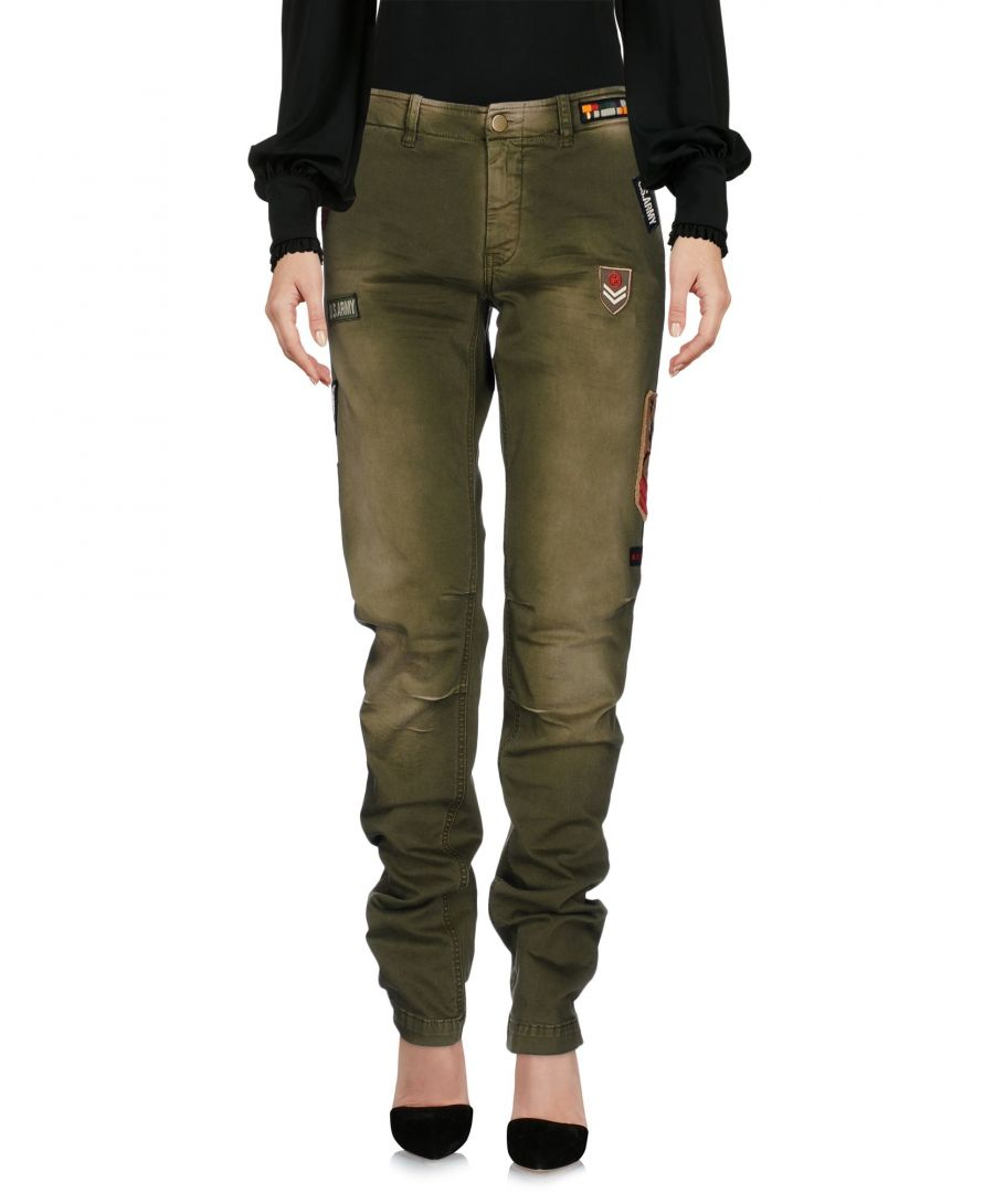 Image for P.A.R.O.S.H. Military Green Cotton Straight Leg Trousers