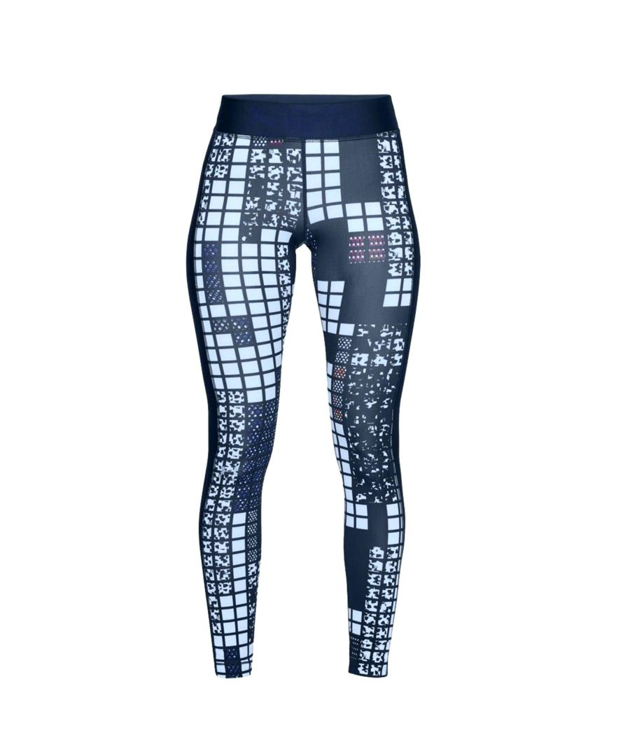 Image for Under Armour HeatGear Armour Printed Womens Ankle Crop Legging Navy Blue - UK 12-14
