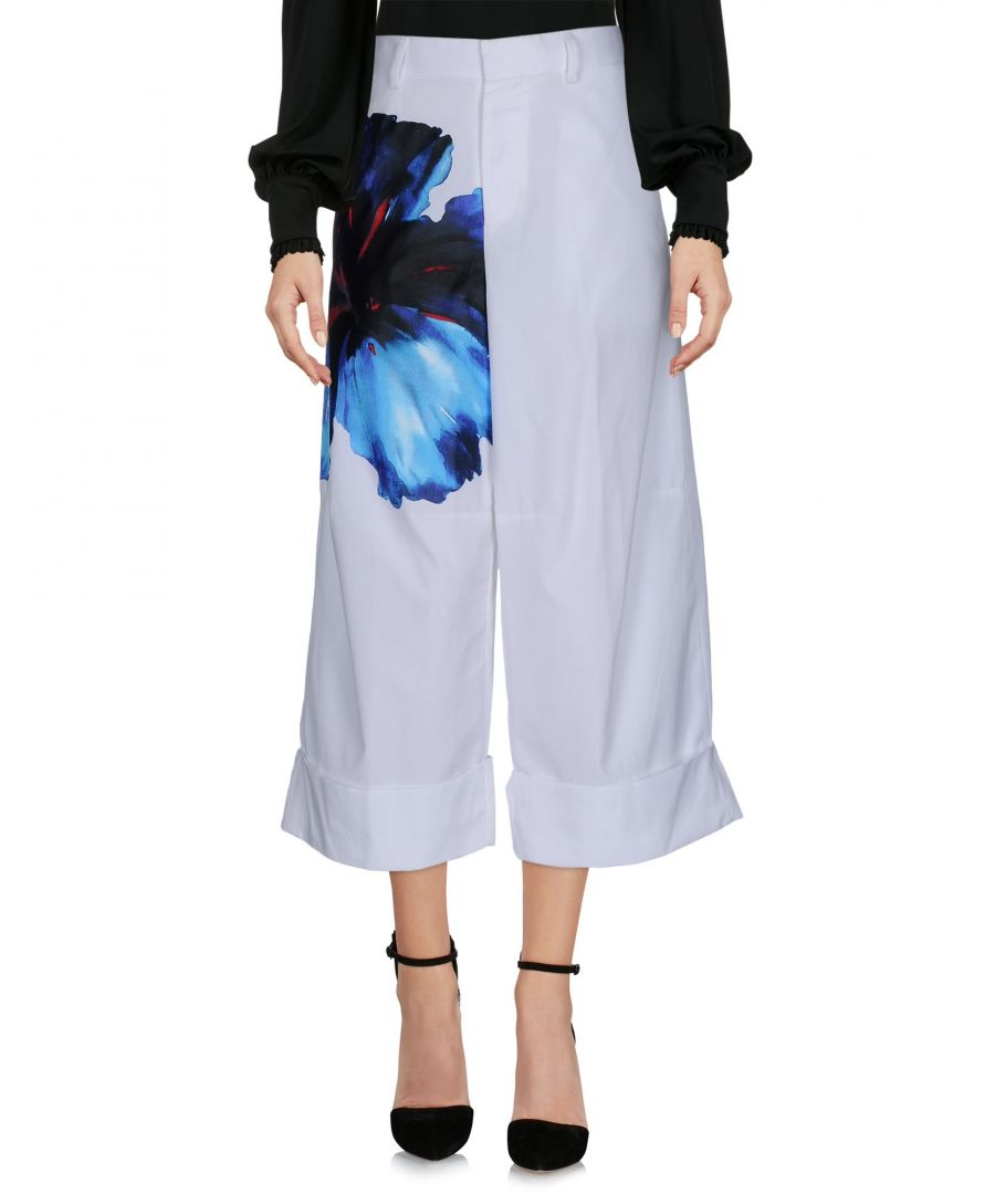 Image for Dsquared2 White Cotton Wide Leg Trousers