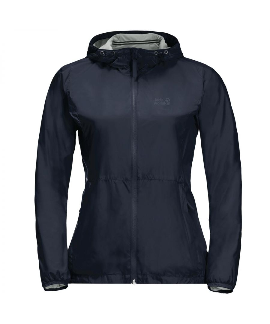 Image for Jack Wolfskin JWP Breather Womens Waterproof Jacket Navy Blue - UK 8-10