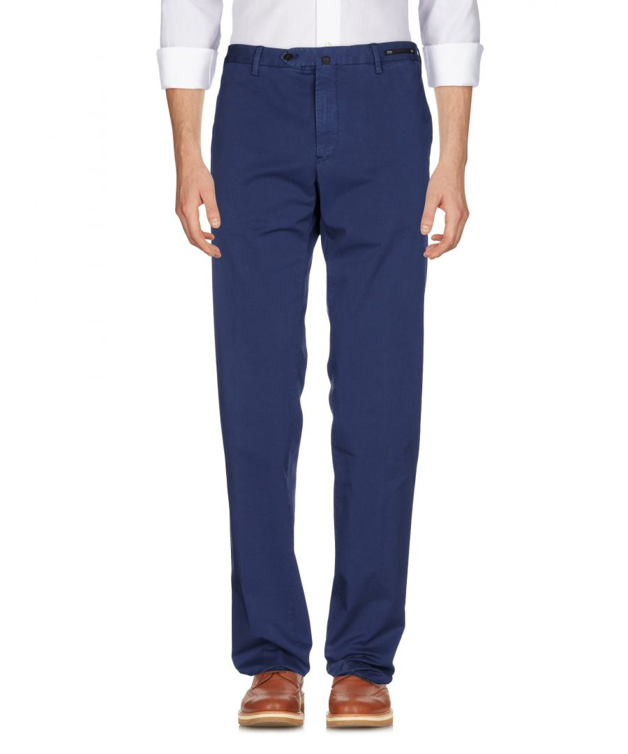 Image for Pt01 Dark Blue Cotton Tapered Leg Chino Trousers