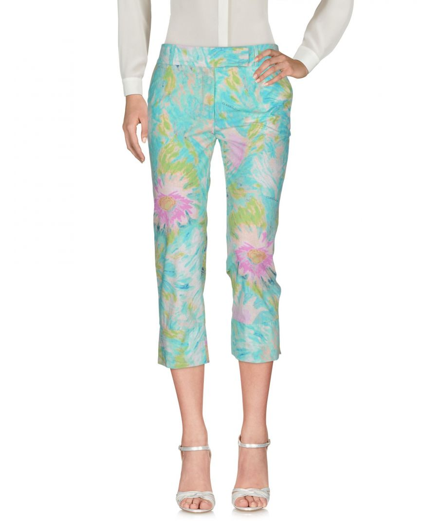 Image for Cavalli Class Turquoise Floral Print Cotton Trousers