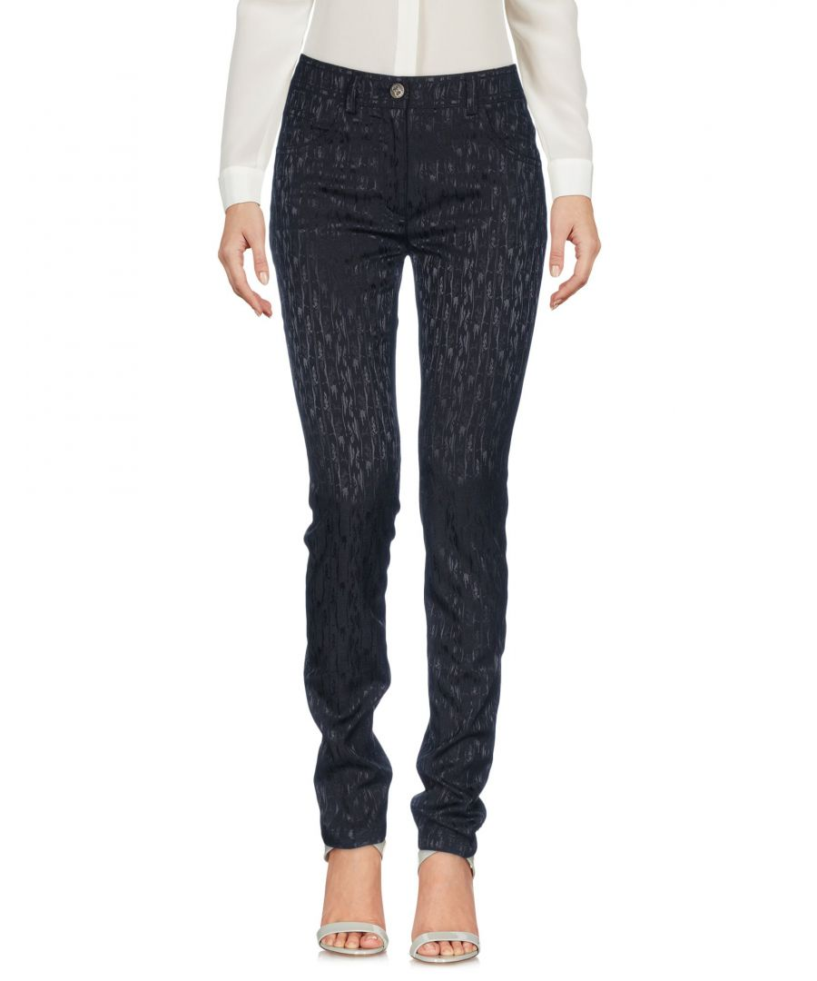 Image for Cavalli Class Black Cotton Jacquard Tapered Leg Trousers