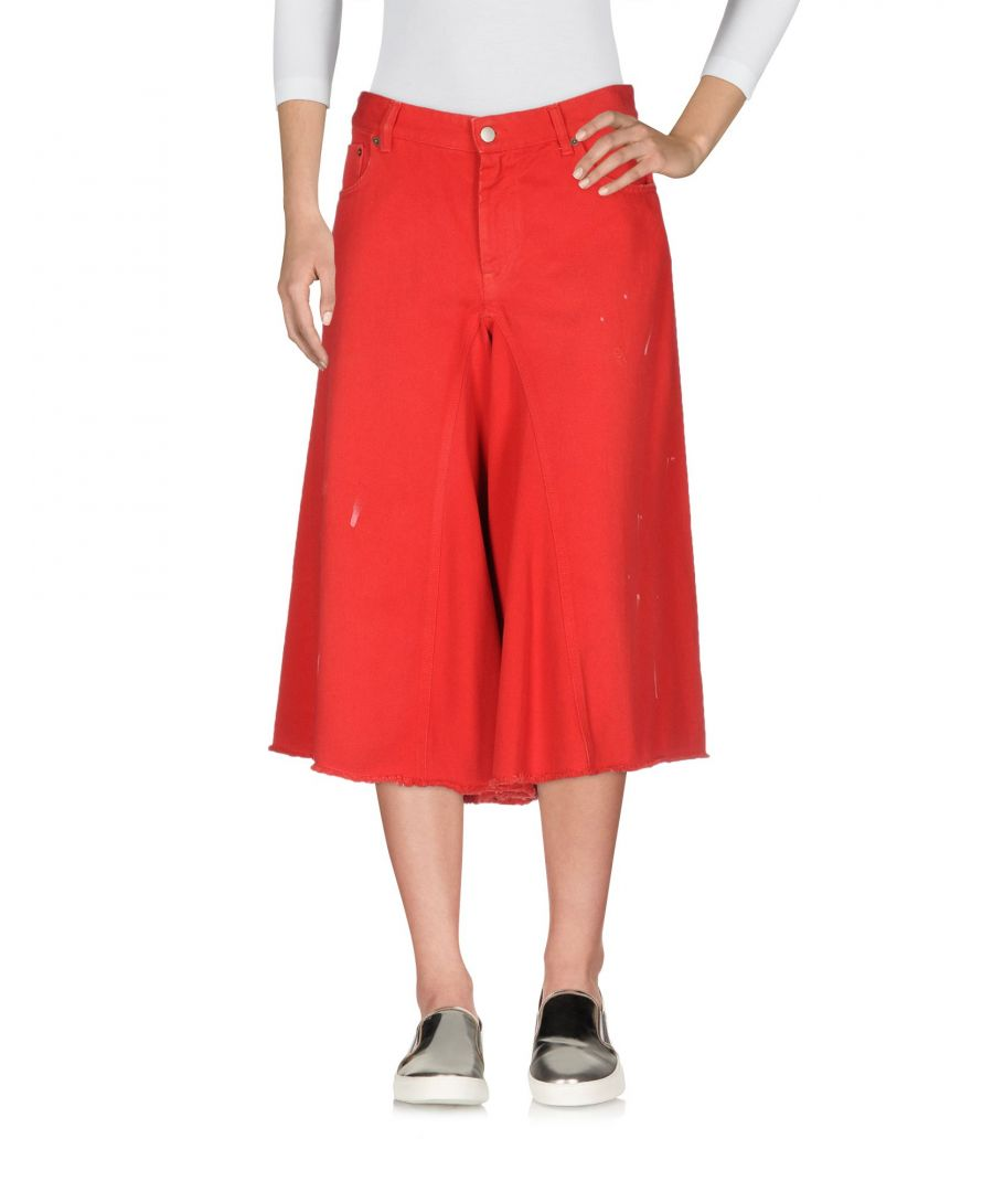 Image for MM6 Maison Margiela Red Cotton Wide Leg Cropped Jeans