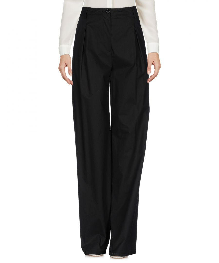 Image for Love Moschino Black Cotton Wide Leg Trousers