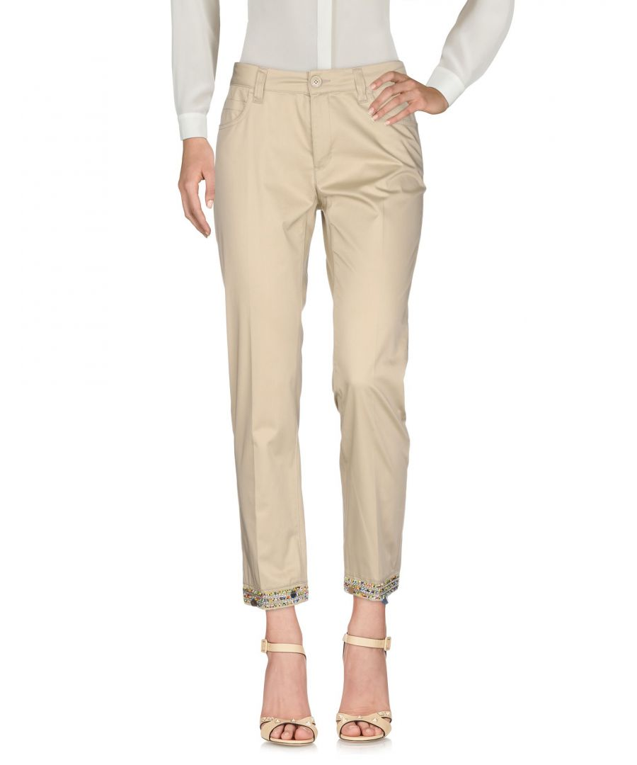 Image for Love Moschino Beige Cotton Tapered Leg Trousers