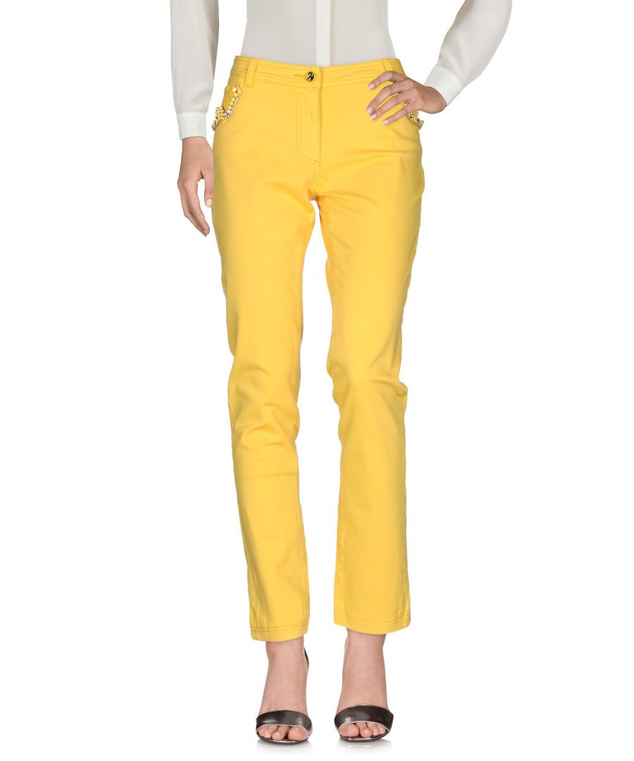 Image for Cavalli Class Yellow Cotton Tailored Trousers