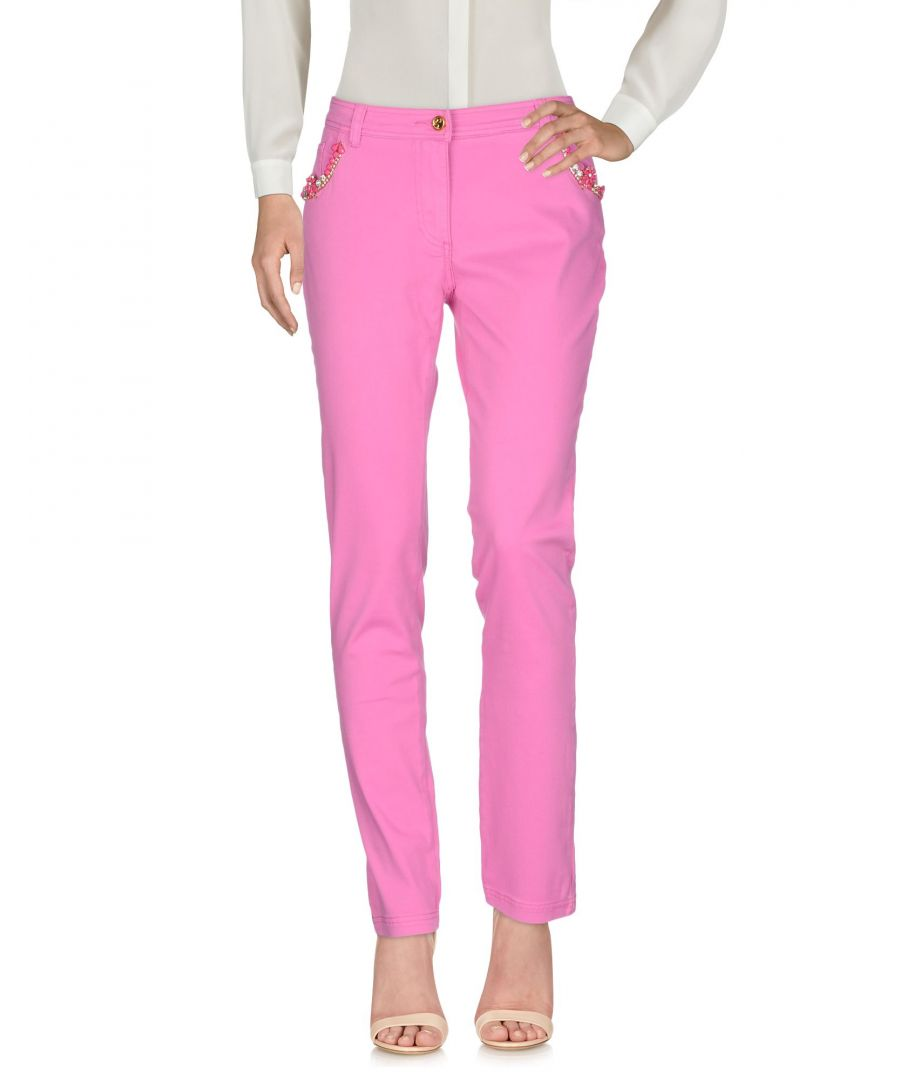 Image for Cavalli Class Pink Cotton Tapered Leg Trousers