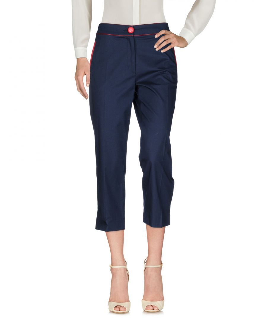 Image for Cavalli Class Dark Blue Cotton Tailored Cropped Trousers