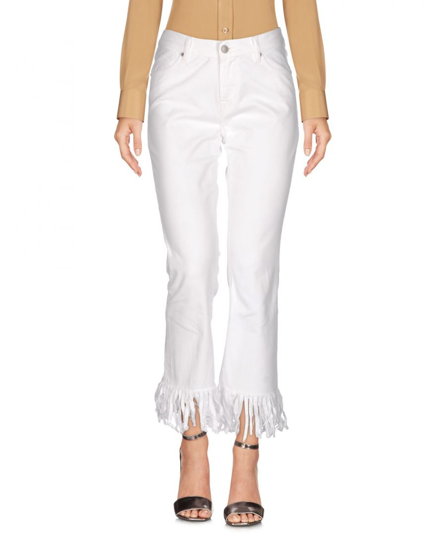 Image for True Nyc White Cotton Cropped Flare Trousers