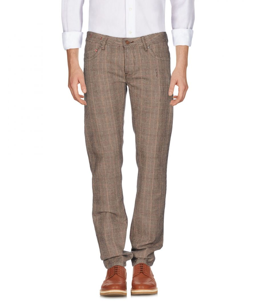 Image for Pepe Jeans Khaki Cotton Prince Of Wales Check Slim Fit Trousers