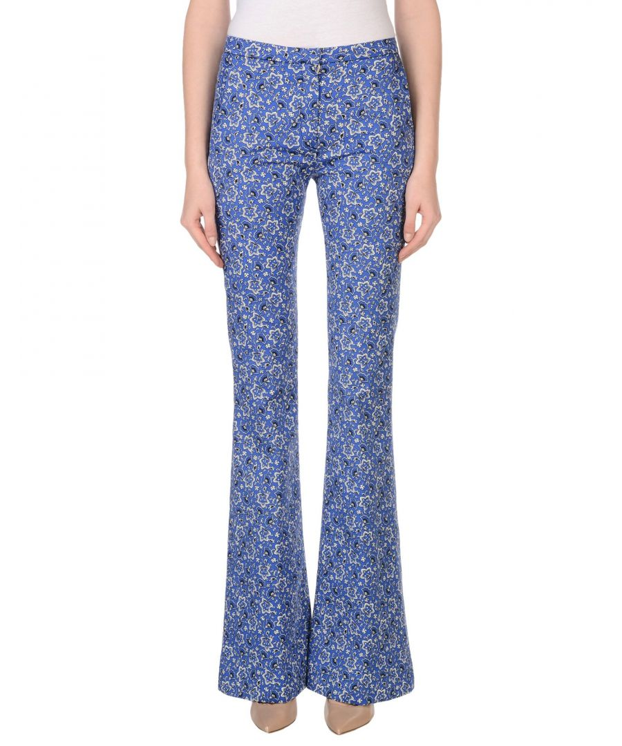 Image for Cycle Bright Blue Print Cotton Flared Trousers