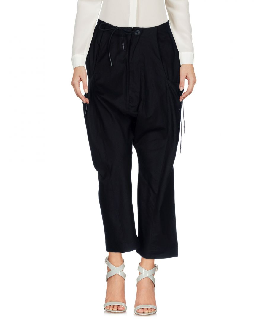 Image for Y-3 Black Cotton Wide Leg Cropped Trousers