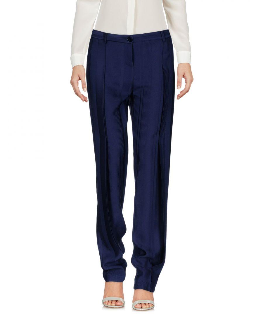 Image for Patrizia Pepe Dark Blue Crepe Straight Leg Tailored Trousers