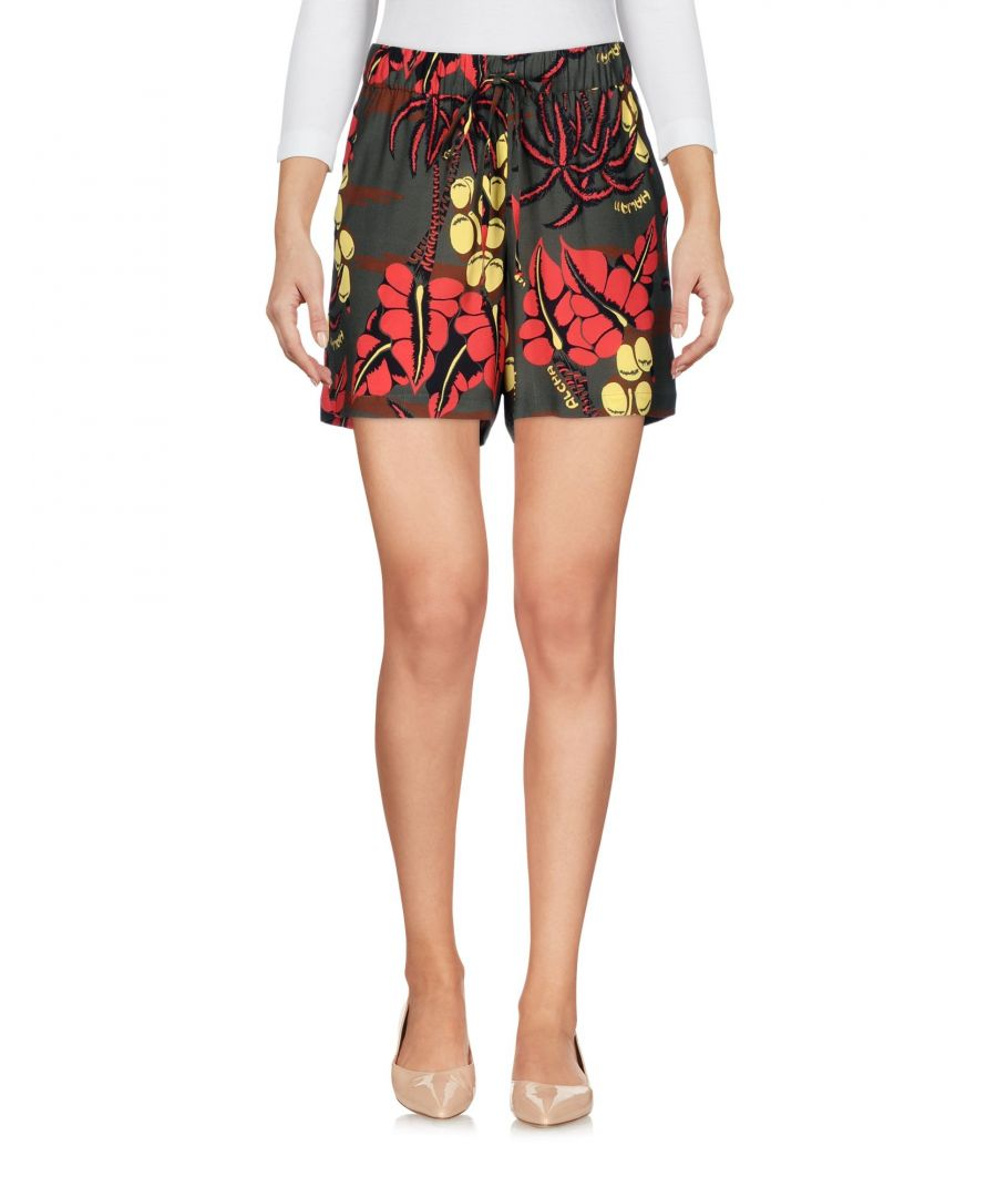 Image for P.A.R.O.S.H. Military Green Floral Print Silk Shorts