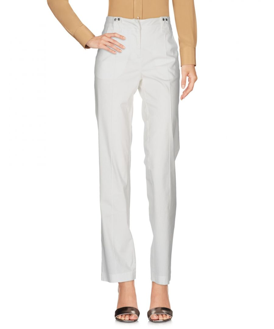 Image for EA7 White Cotton Straight Leg Trousers