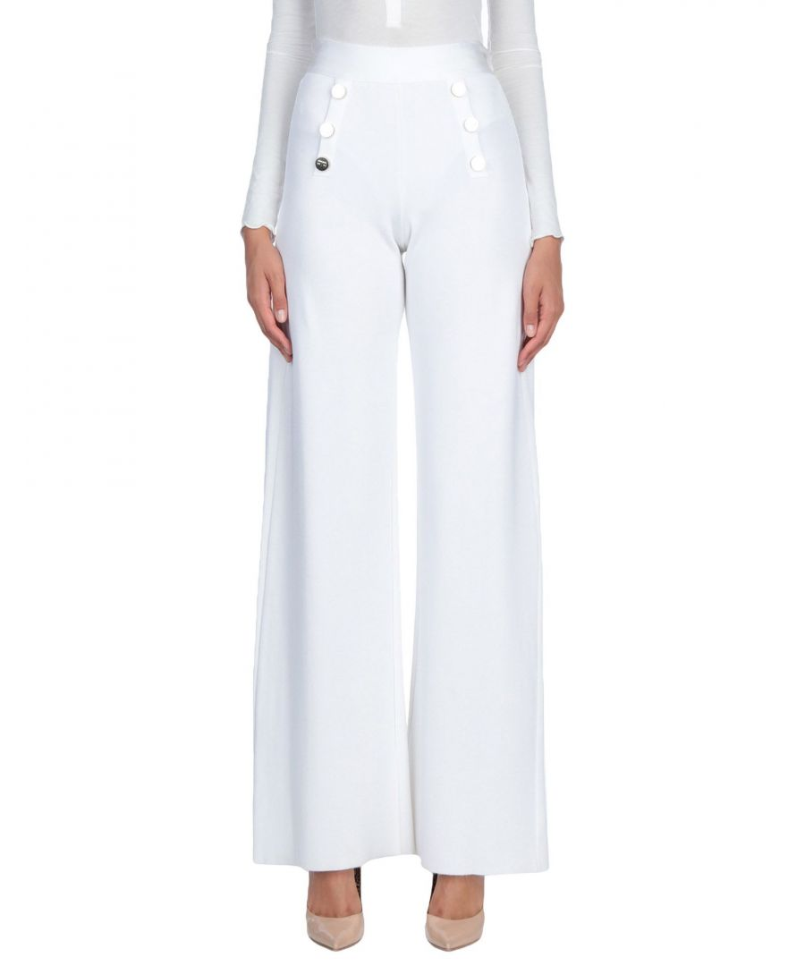 Image for Elisabetta Franchi Ivory High Waisted Wide Leg Trousers