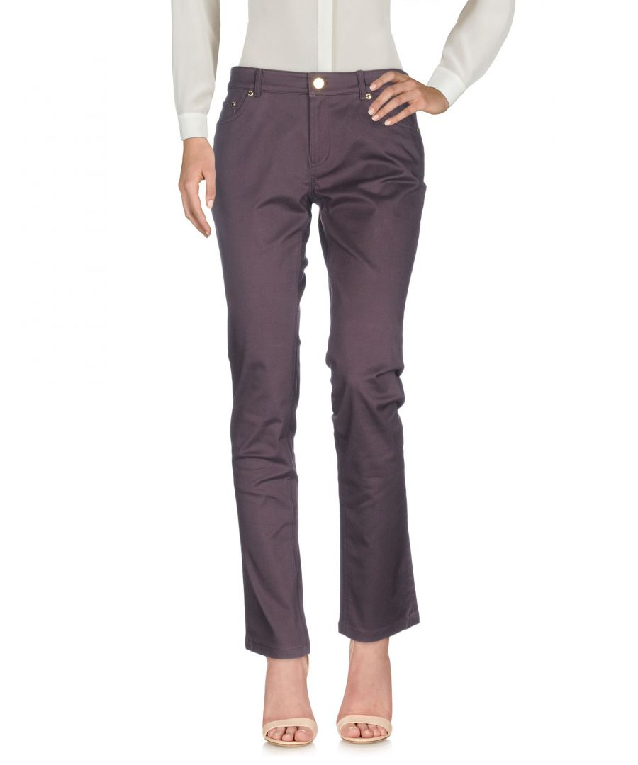 Image for Brooks Brothers Deep Purple Cotton Tapered Leg Trousers