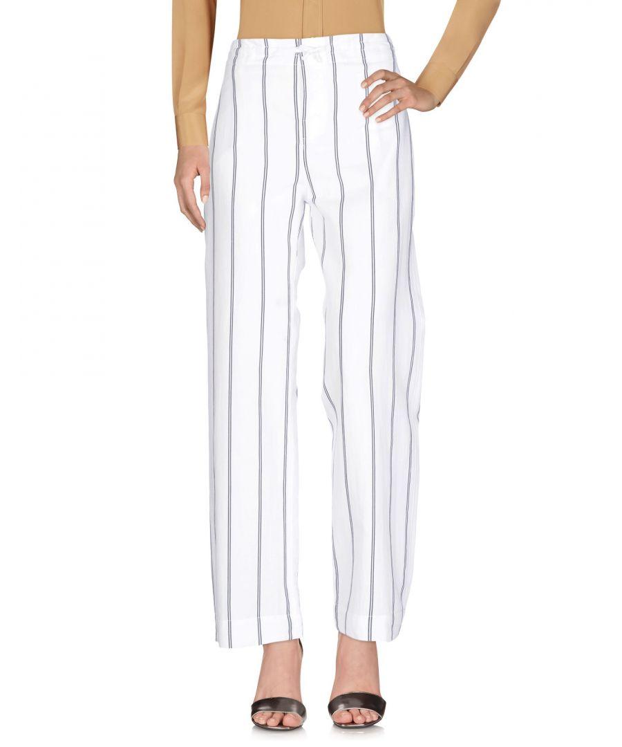 Image for Bagutta White Stripe Cotton Straight Leg Trousers