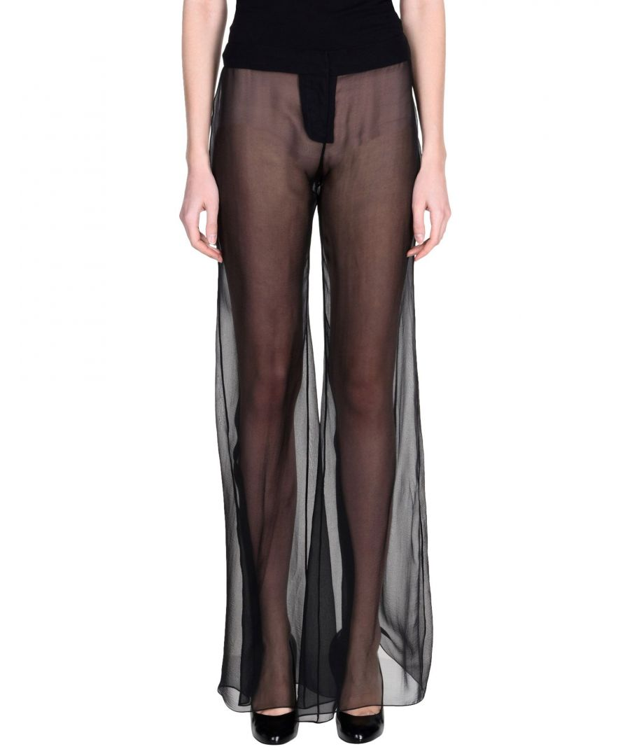 Image for Balmain Black Silk Sheer Wide Leg Trousers