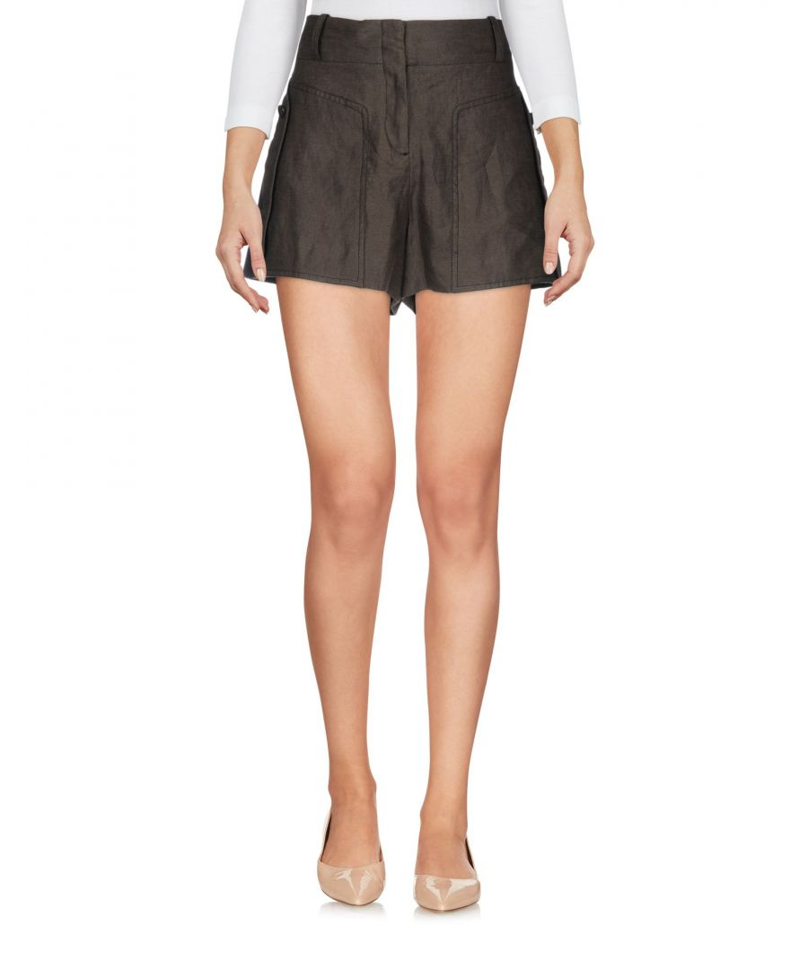 Image for The Kooples Military Green Linen High Waisted Shorts