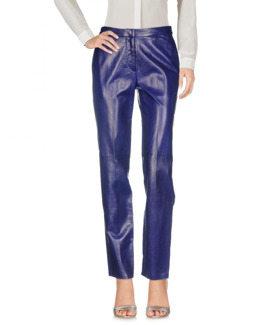 Image for Blumarine Dark Blue Lambskin Leather Trousers