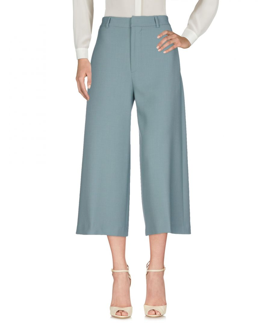 Image for Brian Dales Slate Blue Wide Leg Cropped Trousers