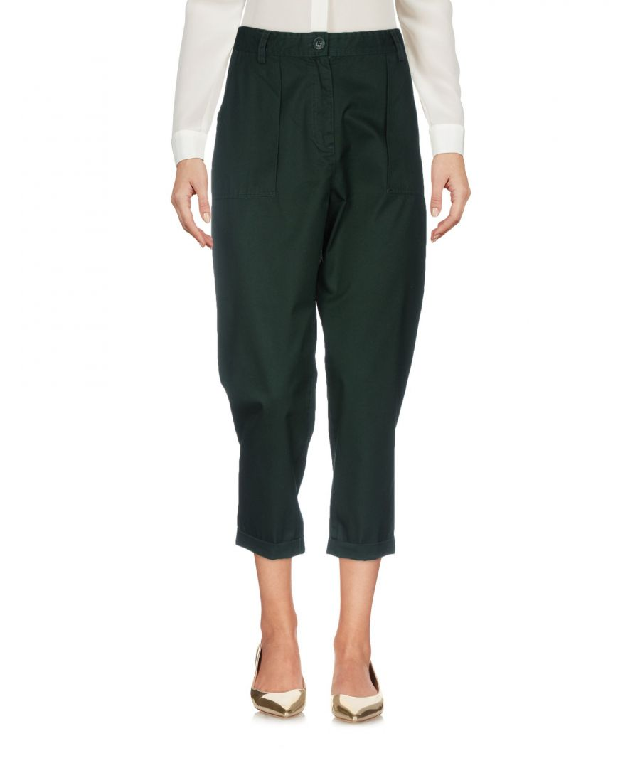 Image for Tommy Jeans Dark Green Cotton Cropped Trousers