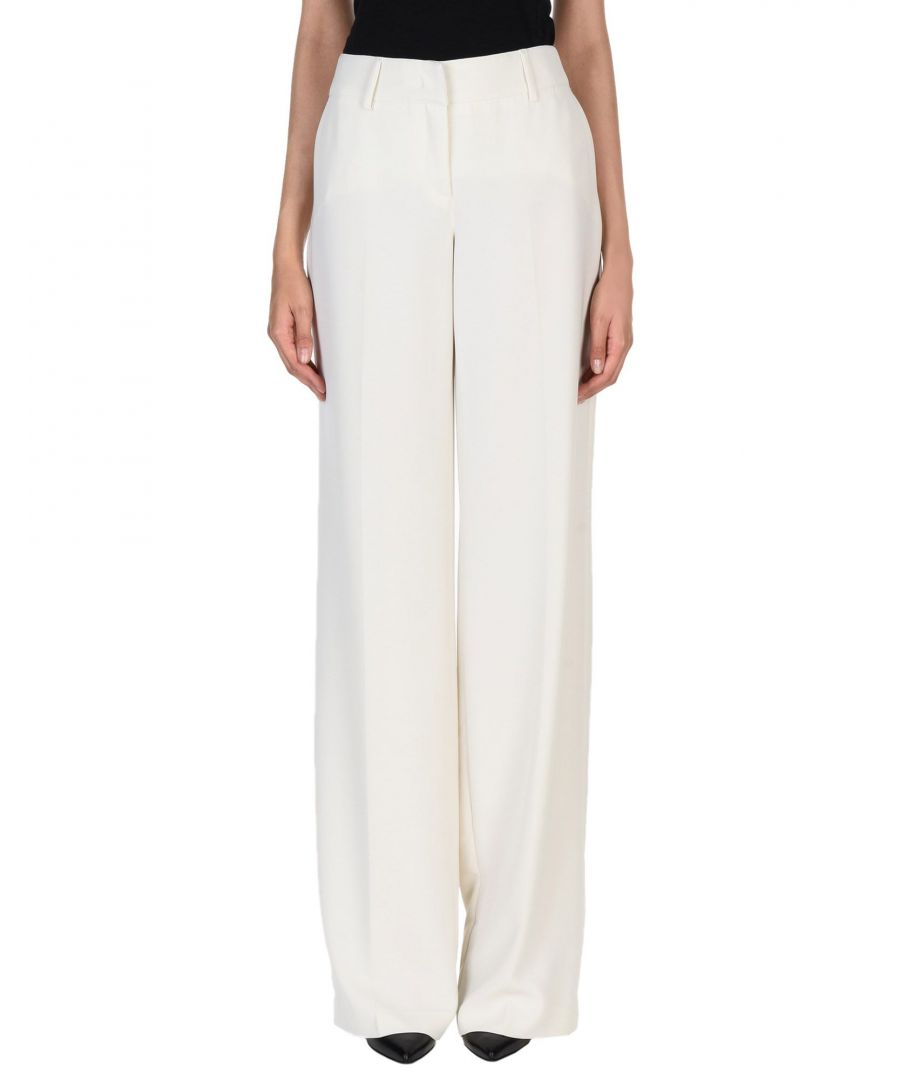 Image for Blumarine Ivory Crepe Tailored Wide Leg Trousers