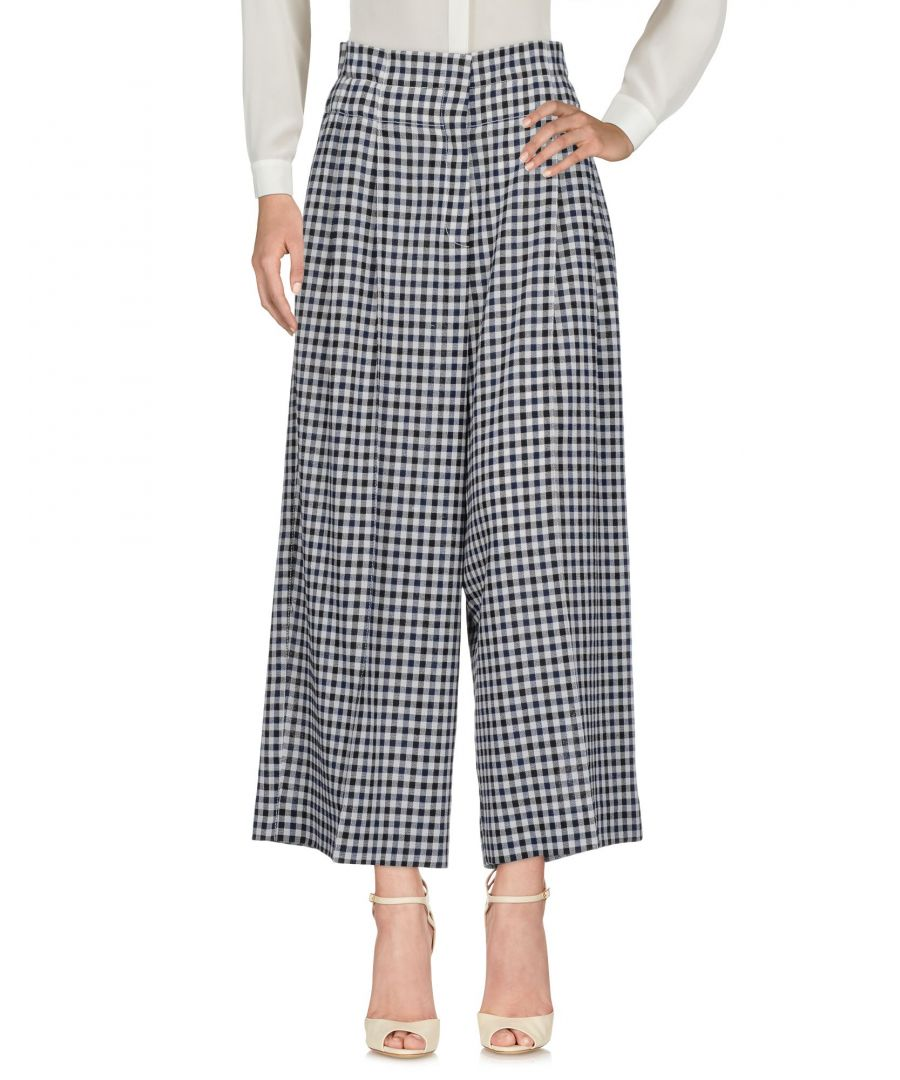 Image for Sonia Rykiel Dark Blue Check Wool High Waisted Wide Leg Trousers