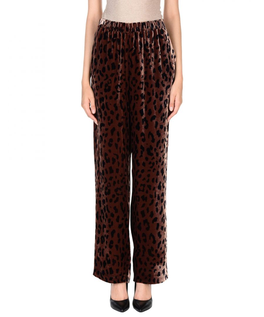 Image for Tibi Dark Brown Leopard Print Velvet Trousers