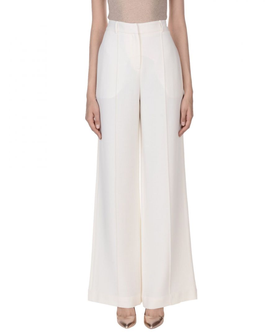 Image for Adam Lippes Ivory Wool Wide Leg Trousers