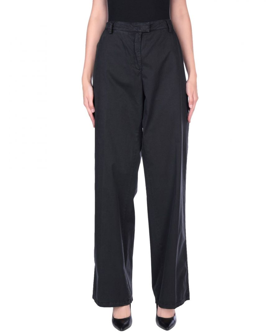 Image for Armani Jeans Black Cotton Wide Leg Tailored Trousers