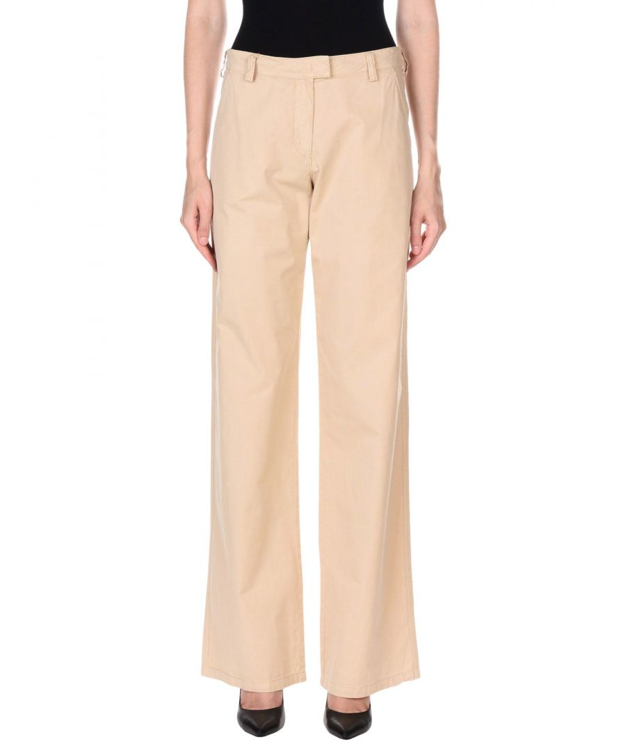 Image for Armani Jeans Sand Cotton Tailored Wide Leg Trousers