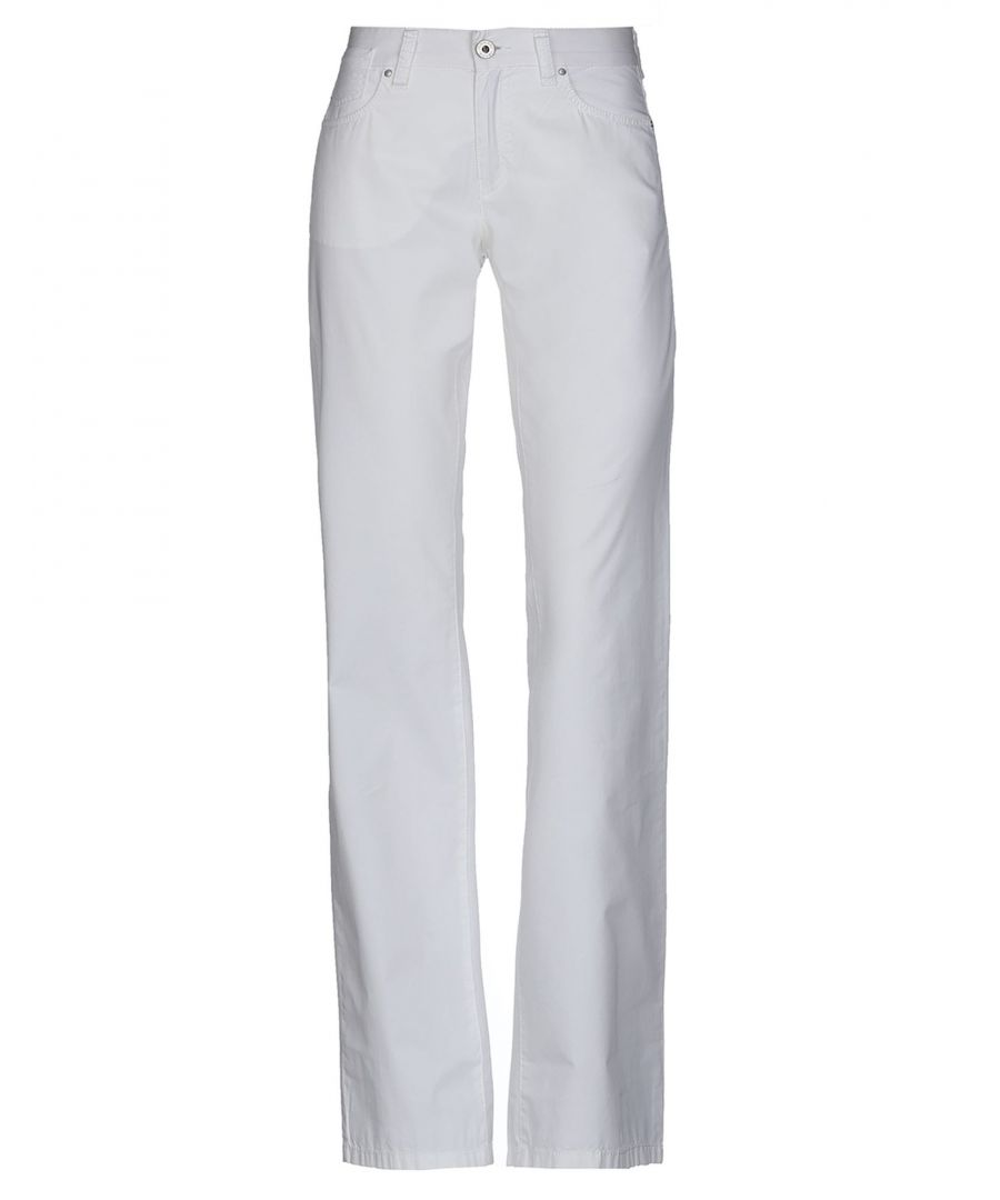Image for Armani Jeans White Cotton Straight Leg Trousers