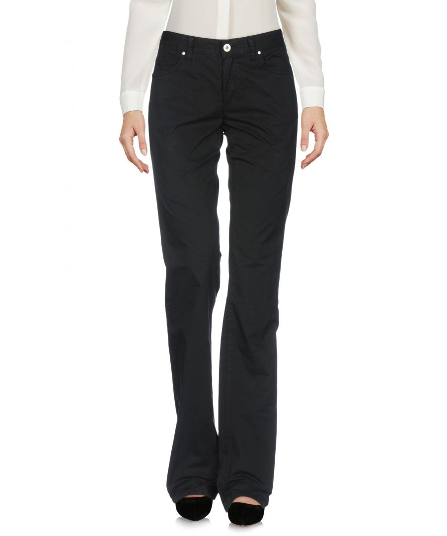 Image for Armani Jeans Black Cotton Straight Leg Tailored Trousers