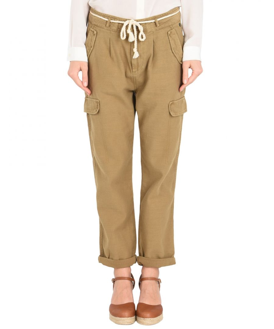 Image for Maison Scotch Camel Cotton Belted Straight Leg Cargo Trousers