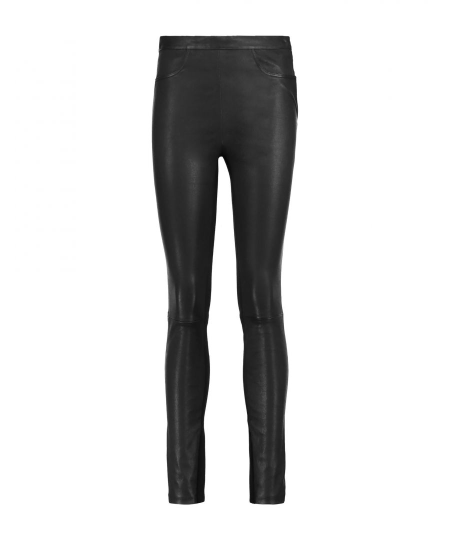 Image for Maje Black Lambskin Leather Trousers