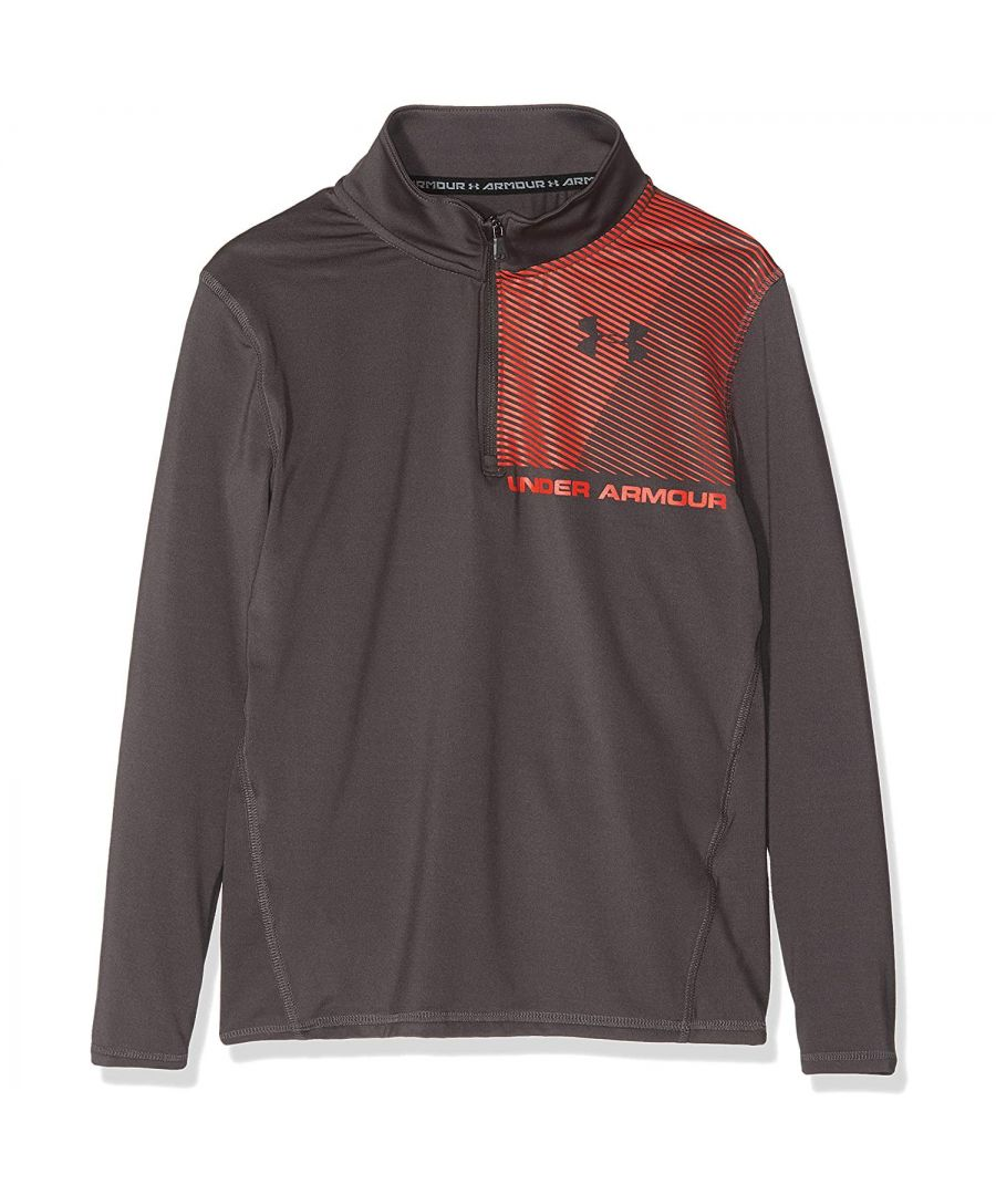 Image for Under Armour Raid 1/4 Zip Kids Shirt Grey/Red