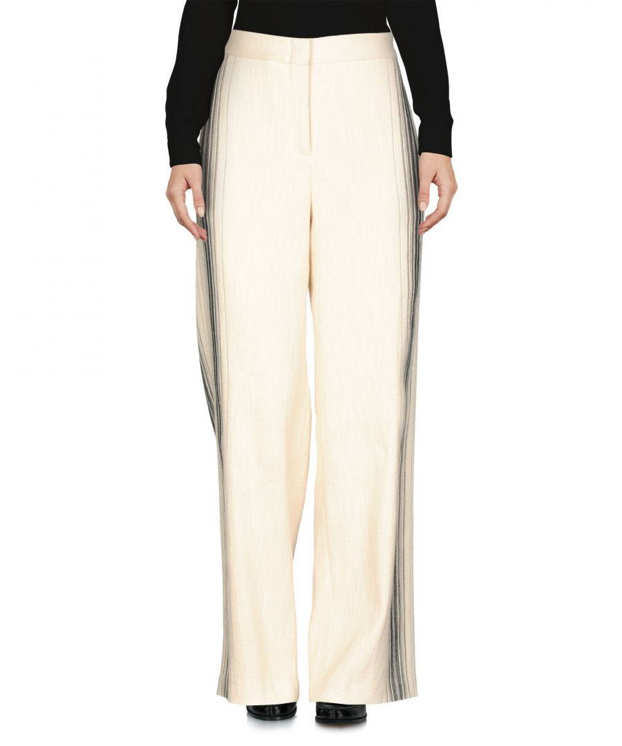 Image for Bcbgmaxazria Ivory Cotton Wide Leg Tailored Trousers