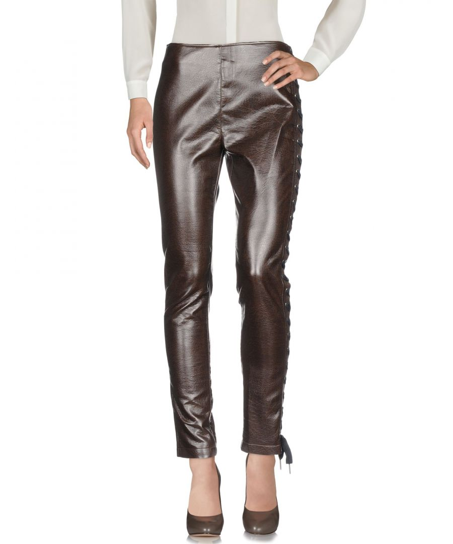 Image for Pinko Dark Brown Faux Leather Trousers
