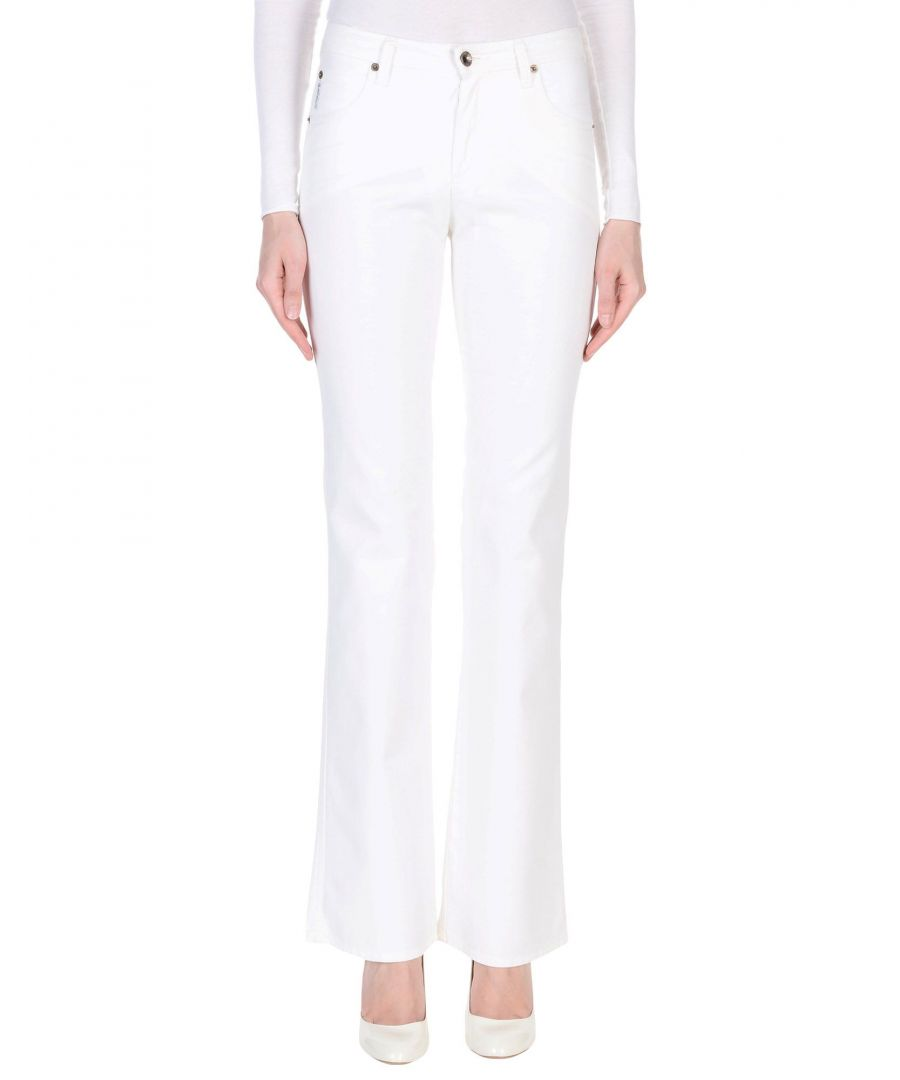 Image for Armani Jeans White Cotton Twill Flare Trousers