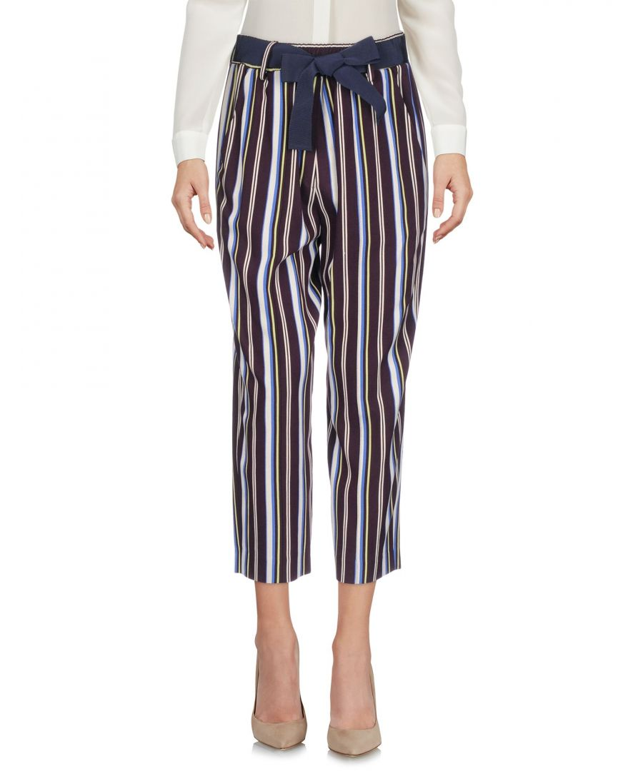 Image for Alysi Deep Purple Stripe Print Cropped Trousers