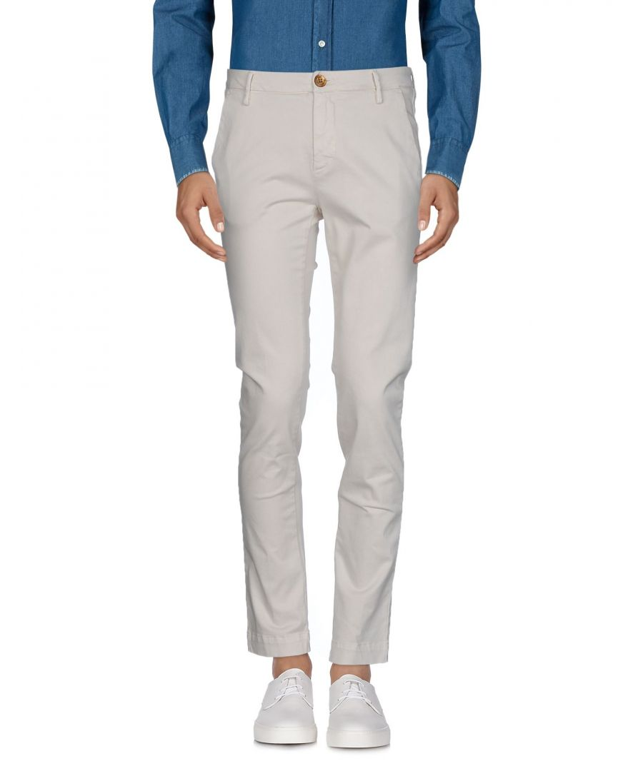 Image for Aglini Ivory Cotton Tapered Leg Chino Trousers