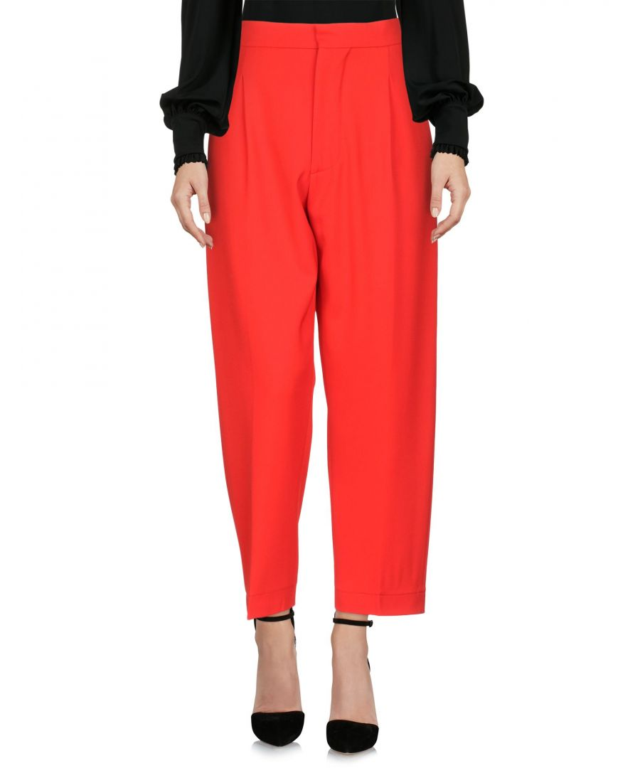 Image for Marni Red Cotton Cropped Wide Leg Trousers